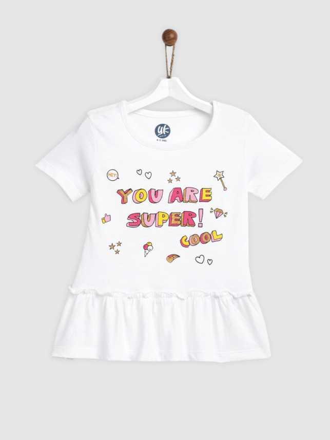 Yk Girls Printed Pure Cotton T Shirt Price in India - Buy Yk