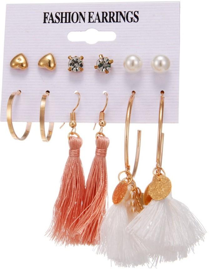 Women 6 Pairs Alloy Cubic Zirconia Studs Earrings Earrings Pearl Earrings