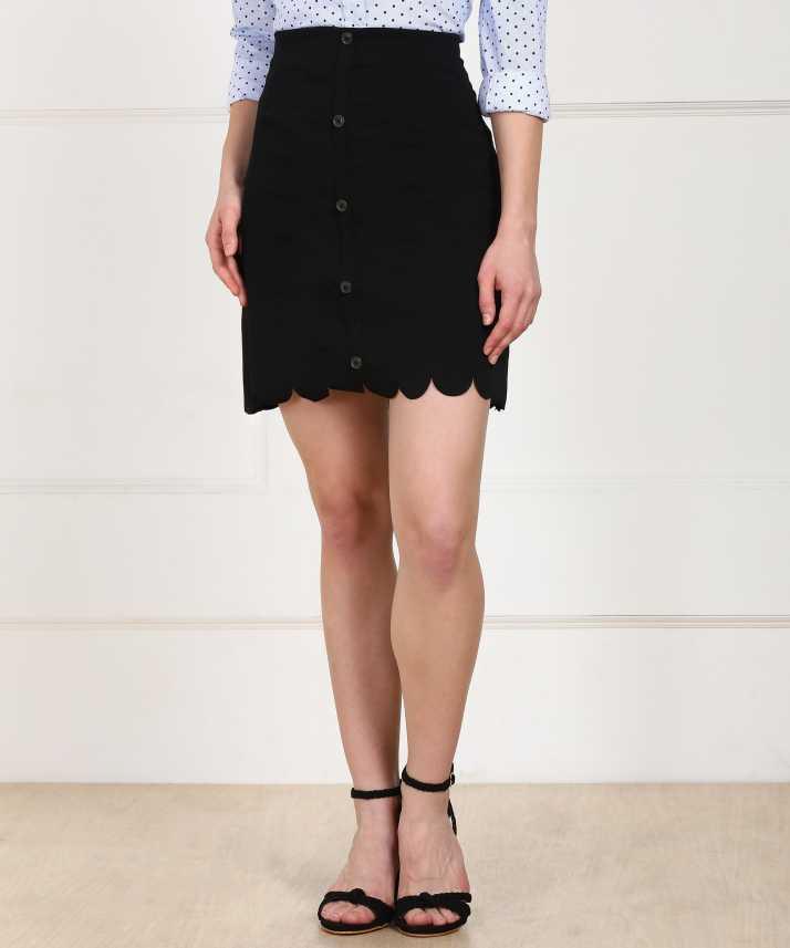 ProvogueWomen Solid A line Black Skirt