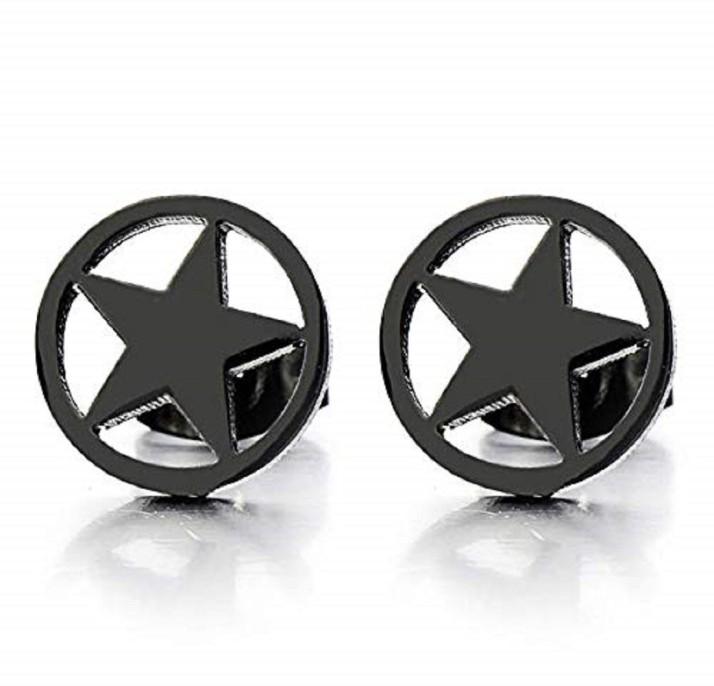 pair Stainless Steel Black Cut-out Pentagram Star Stud Earrings