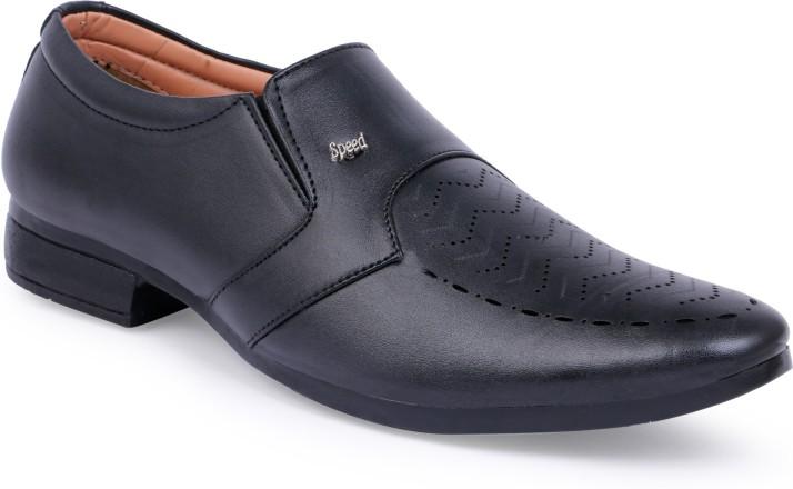 CLOSHO Black Formal Shoes Slip On For