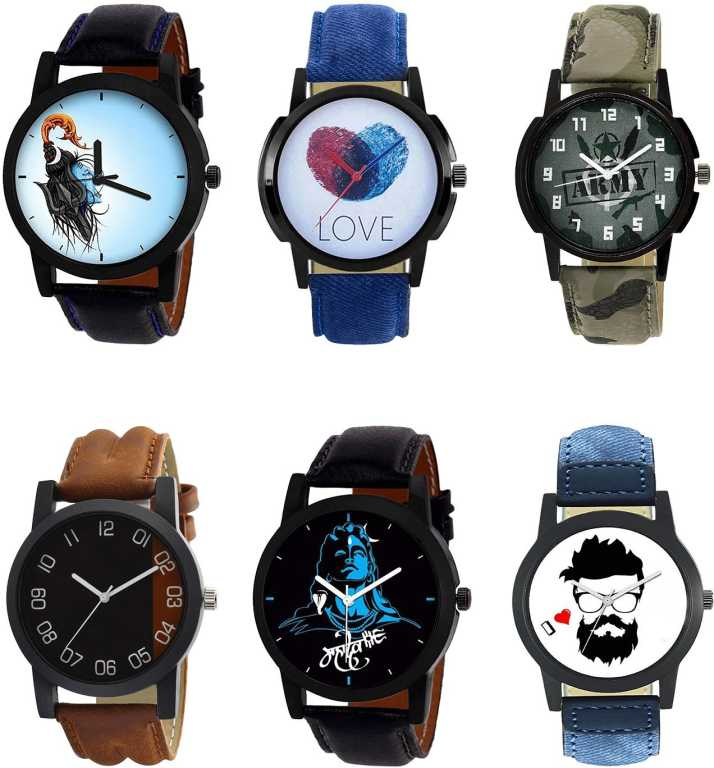 Timenter Latest Love Mahadev Love Army And Beard Style Analogue Black Blue Green And Brown Color Boys And Men Watch B22 B11 B21 B36 B23 B12 Combo Of 6 Combo Watch Analog Watch For Men Buy Timenter