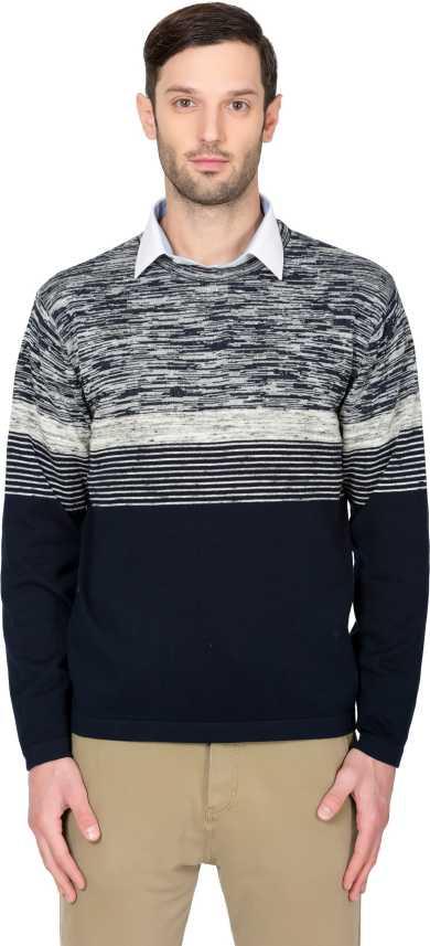 Alx Newyork Striped Crew Neck Casual Men Dark Blue Sweater