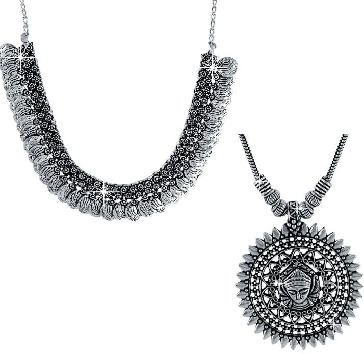 Silver Jewelry Women Chokar Earring Set Oxidized Chain Designer Necklace Style