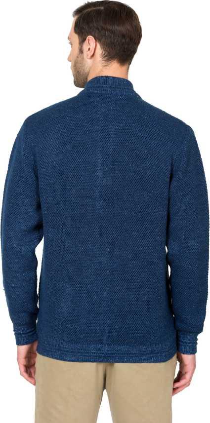 ALX Newyork Self Design High Neck Casual Men Dark Blue