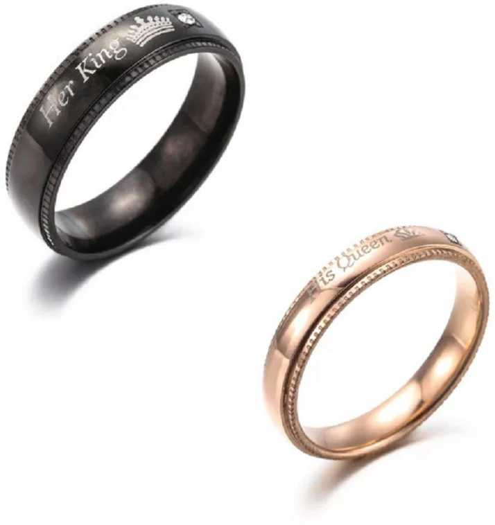 Impression 2pcs Her King His Queen Titanium Stainless Steel