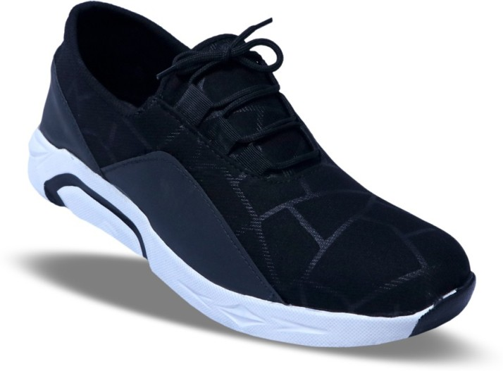 Rarefied Black Lace Up Sports Shoes