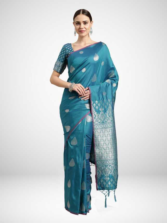 Buy Ratnavati Woven Fashion Silk Blend Light Blue Sarees