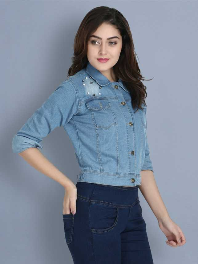 BuyNewTrend Full Sleeve Embellished Women Denim Jacket - Buy ...