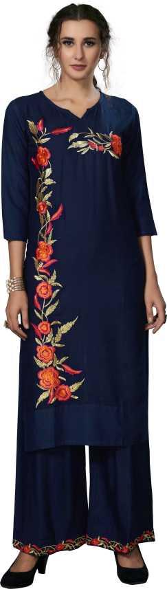 Orange/&Black Women/'s Beautiful Rayon Embroidered Kurta and Palazzo Set