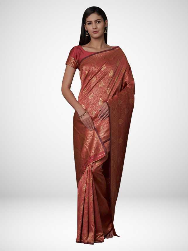 Buy Ratnavati Woven Fashion Nylon Blend, Poly Silk Purple