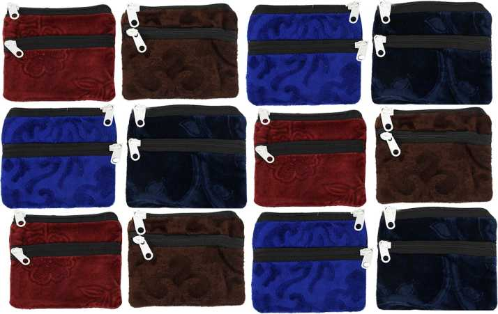 Kuber Industries Velvet 12 Pieces Women Cloth Handy Purse/Coin Pouch/batwa/Wallet  With Two Zipper (Multi) -CTKTC39155 Coin Purse Multi - Price in India |  Flipkart.com