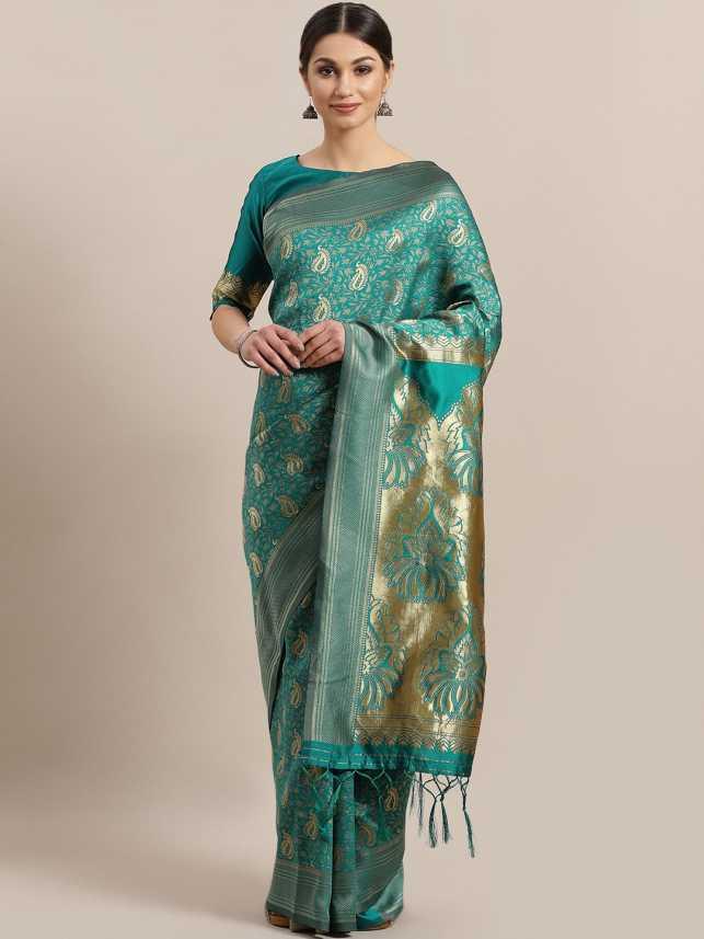 Buy Ratnavati Geometric Print Fashion Silk Blend, Pure Silk