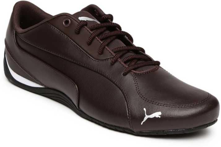 Puma Men Coffee Brown Drift Cat 5 Core Leather Sneakers ...