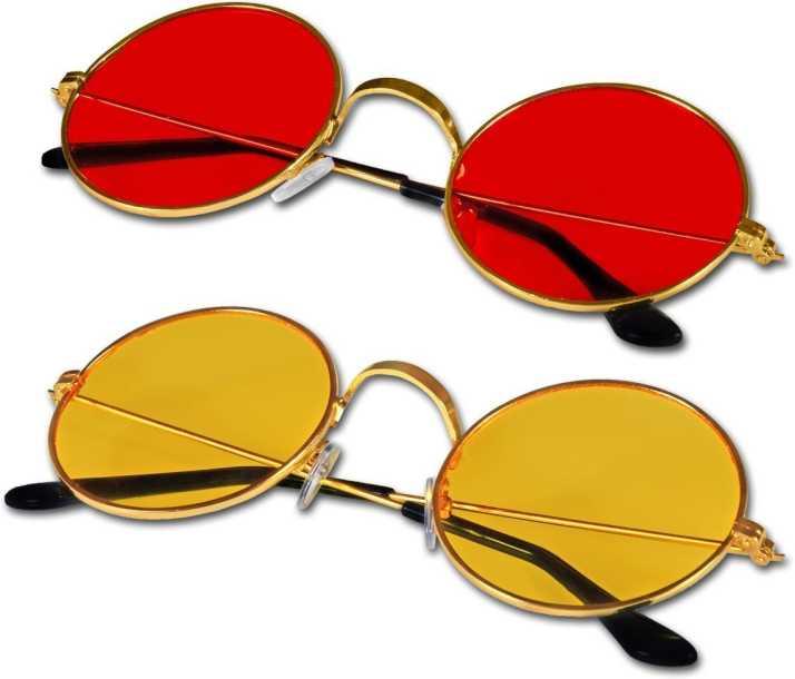 Buy Aleybee Round Sunglasses Yellow Red For Men Women Online Best Prices In India Flipkart Com