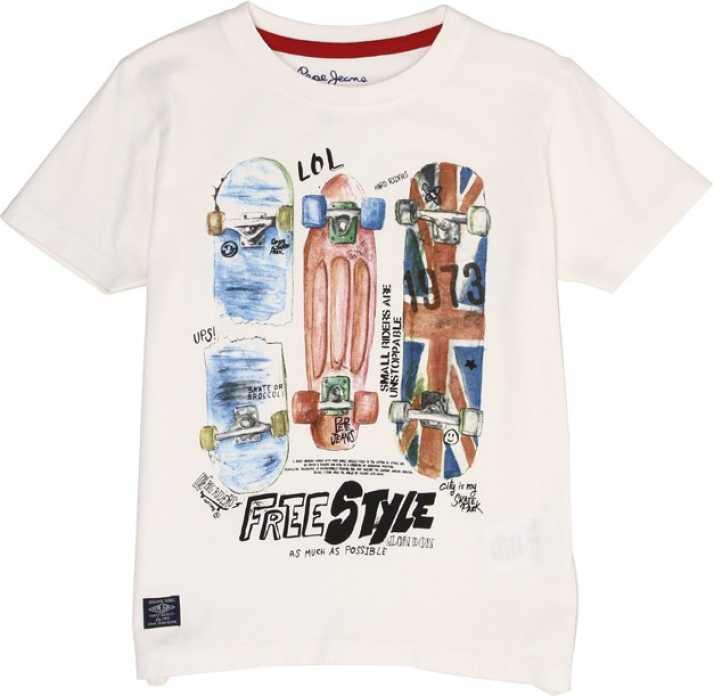 Pepe Jeans Boys Graphic Print Cotton Blend T Shirt Price In India Buy Pepe Jeans Boys Graphic Print Cotton Blend T Shirt Online At Flipkart Com