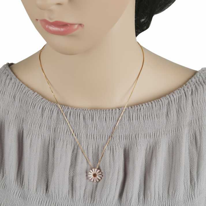 Round Shaped American Diamond Pendant with White CZ Stone and Faux pearl for Women