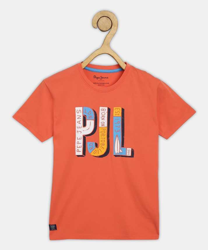 Flipkart Com Pepe Jeans Boys Printed Pure Cotton T Shirt Round Neck