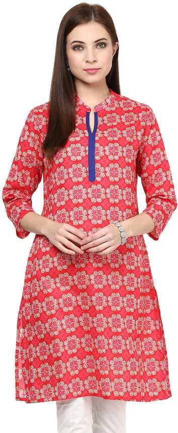 a5d902240e7 Rangmanch by Pantaloons Women s Printed Straight Kurta - Buy CORAL ...
