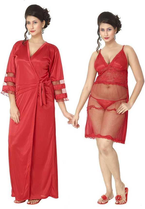 9fa5647307 KuuKee Women Nighty Set - Buy Red KuuKee Women Nighty Set Online at Best  Prices in India