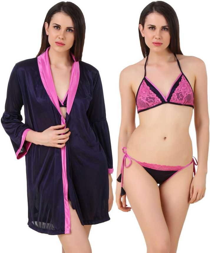 8a8b9463e3 Fasense Women Nighty - Buy Navy Blue   Pink Fasense Women Nighty ...