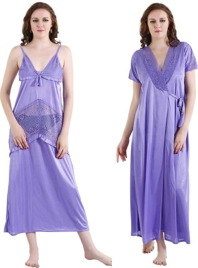 Romaisa Women Nighty with Robe - Buy MediumPurple Romaisa Women ... 4fbedd03e