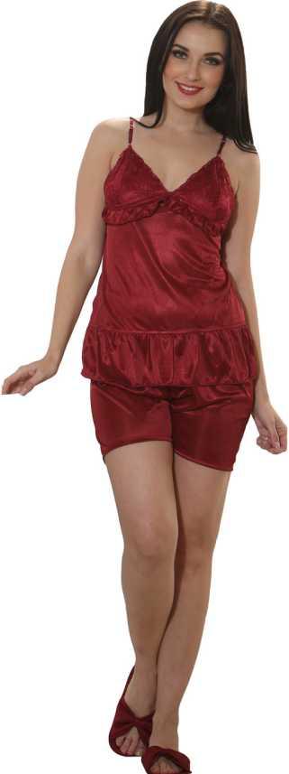 a56e91cff5 Clovia Set of 2 Pc Satin Nightwear Women Solid Maroon Top & Shorts Set Price  in India - Buy Clovia Set of 2 Pc Satin Nightwear Women Solid Maroon Top ...