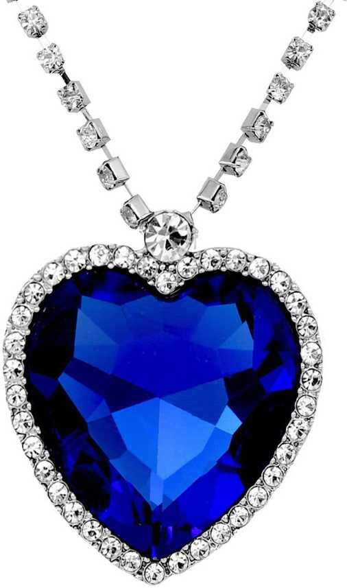 9f3321ac23174 Crunchy Fashion Titanic Inspired Heart of Ocean Necklace Silver Crystal  Alloy, Crystal Pendant