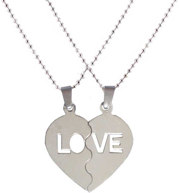 8f44c82ad2 Men Style Look Trendy Couple Heart Lockets With Chain Stainless Steel  Pendant Set Price in India - Buy Men Style Look Trendy Couple Heart Lockets  With Chain ...