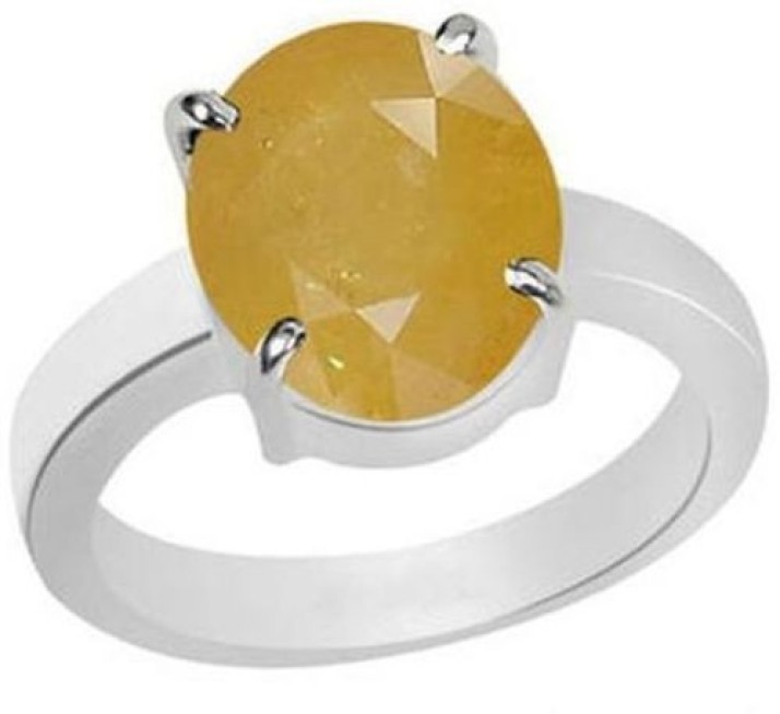 Pukhraj CLARA Certified Yellow Sapphire 3.9cts or 4.25ratti original stone Sterling Silver Astrological Ring for Men and Women