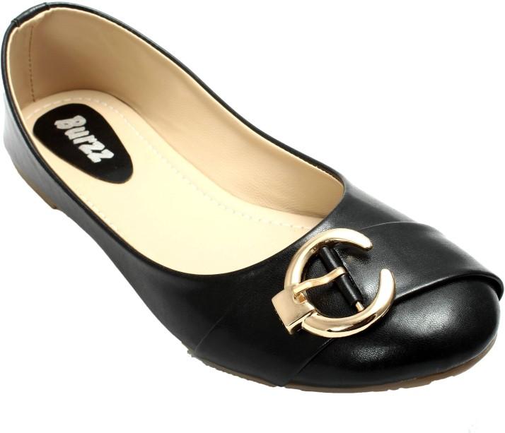 Burzz Women Black Flats - Buy Black