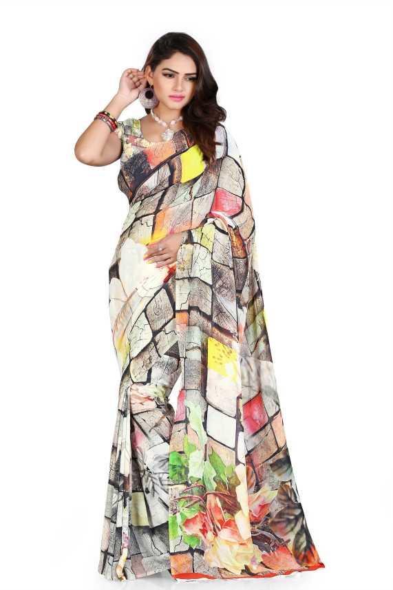 58d5f5c676 Kalaa Varsha Digital Print, Floral Print Fashion Poly Georgette Saree  (Multicolor)