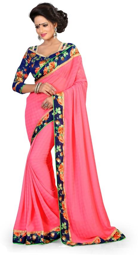 Printed Fashion Chiffon Saree Brown Indianbeauty Self Design