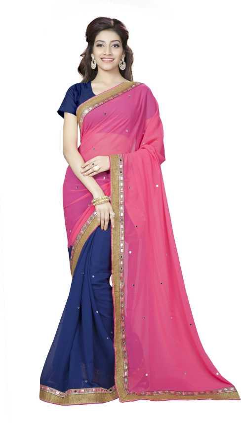efcf07d4cde12d Aai Shree Khodiyar Art Solid Bollywood Multicolor Georgette Saree ( Multicolor)