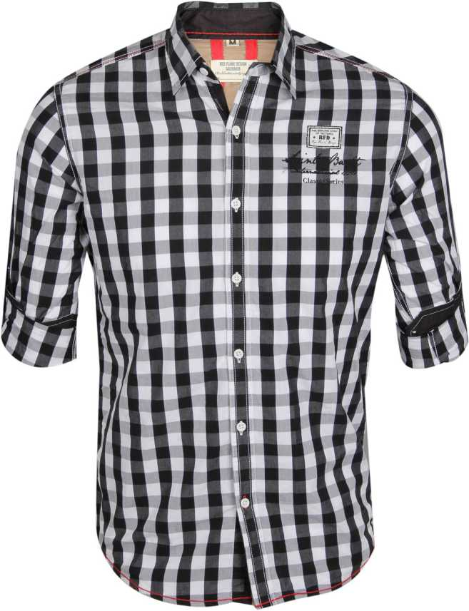 Red Flame Men S Checkered Casual Black White Shirt Buy Black Red