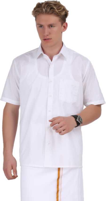 3fabee59 Ramraj Cotton Men's Solid Formal Cutaway Collar Shirt - Buy White ...