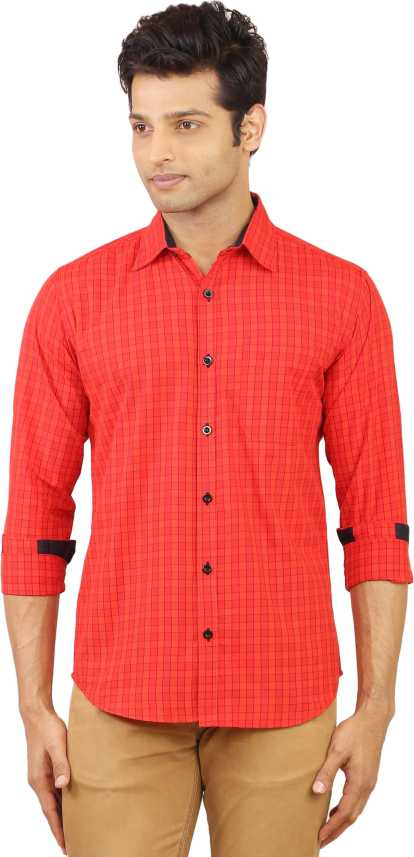 be50fab76d3 Hack Men Checkered Casual Red Shirt - Buy Cherry Red Hack Men ...
