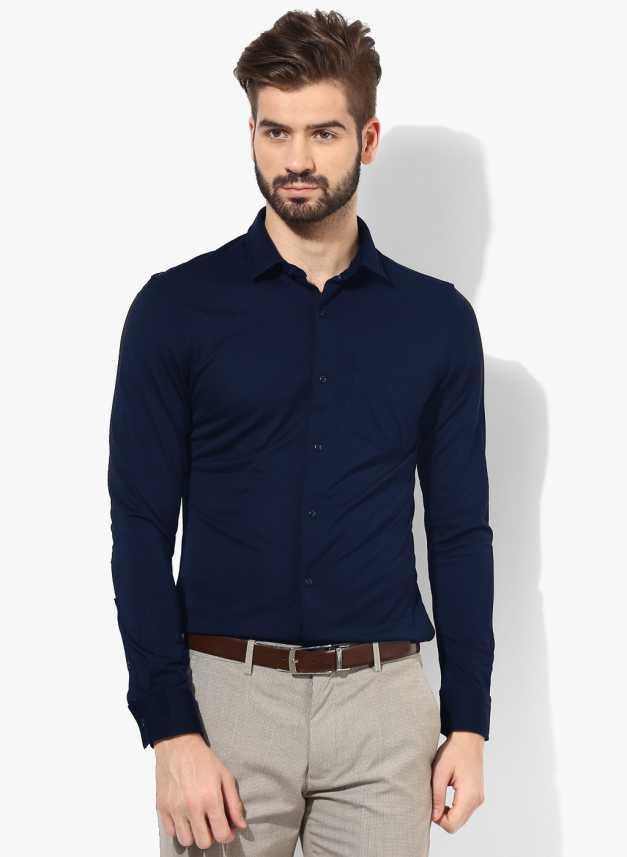3ca2126f939d FabTag - Being Fab Men s Solid Formal Blue Shirt - Buy Navy Blue ...