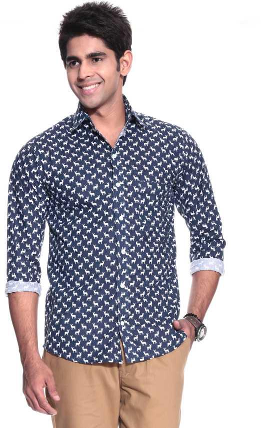 d58da94843fc Haute Couture Men's Animal Print Casual Button Down Collar Shirt ...