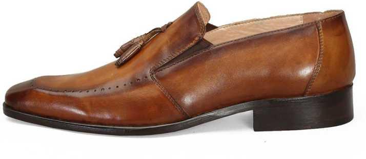 6e41df21ba0 Brune BRUNE Tan Color 100% Genuine Leather Formal Slip-on Shoes With  Stylish Tassel For Men Hand Finished Leather Shoe Hand Painted Leather Shoe   Designer ...