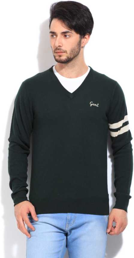 Gant Solid V neck Casual Men Green Sweater
