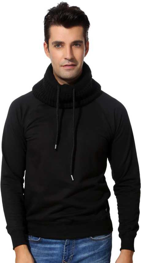 Peter England Solid Turtle Neck Casual Men Black Sweater