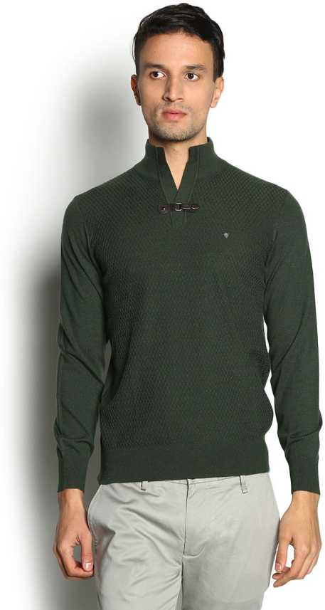 2a792b2c26b Blackberrys Self Design V-neck Casual Men Dark Green Sweater - Buy Olive  Blackberrys Self Design V-neck Casual Men Dark Green Sweater Online at Best  Prices ...