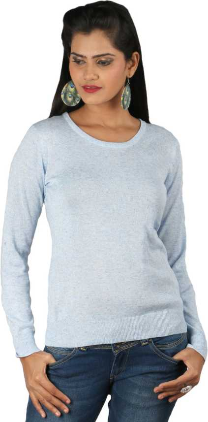 Silver Spring Solid Round Neck Casual Women Blue Sweater
