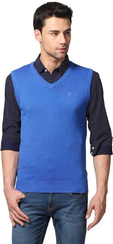 d5b425c1149 Goat Solid V-neck Casual Men Blue Sweater