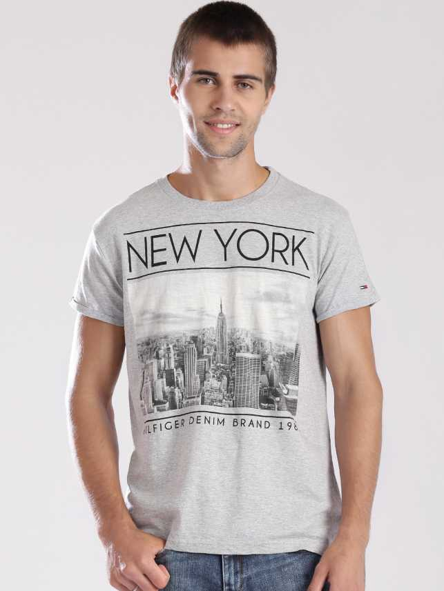 5161a33a Tommy Hilfiger Printed Men's Round Neck Grey T-Shirt - Buy Grey ...