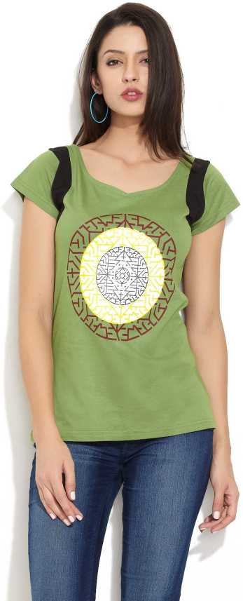 Urban Yoga Printed Women Round Neck Green T Shirt Buy Green Urban Yoga Printed Women Round Neck Green T Shirt Online At Best Prices In India Flipkart Com