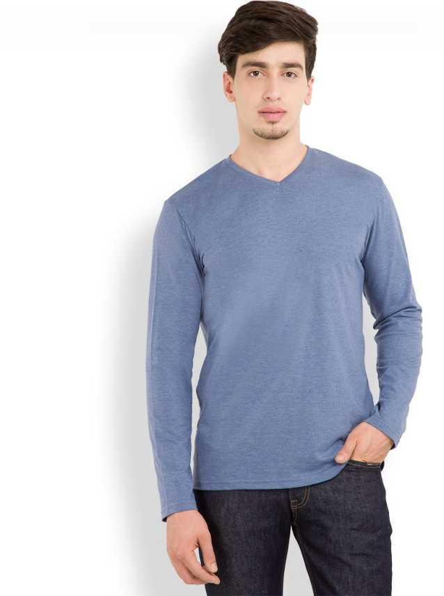 2da9f96e8e926e Highlander Solid Men's V-neck Blue T-Shirt - Buy DULL BLUE Highlander Solid  Men's V-neck Blue T-Shirt Online at Best Prices in India | Flipkart.com