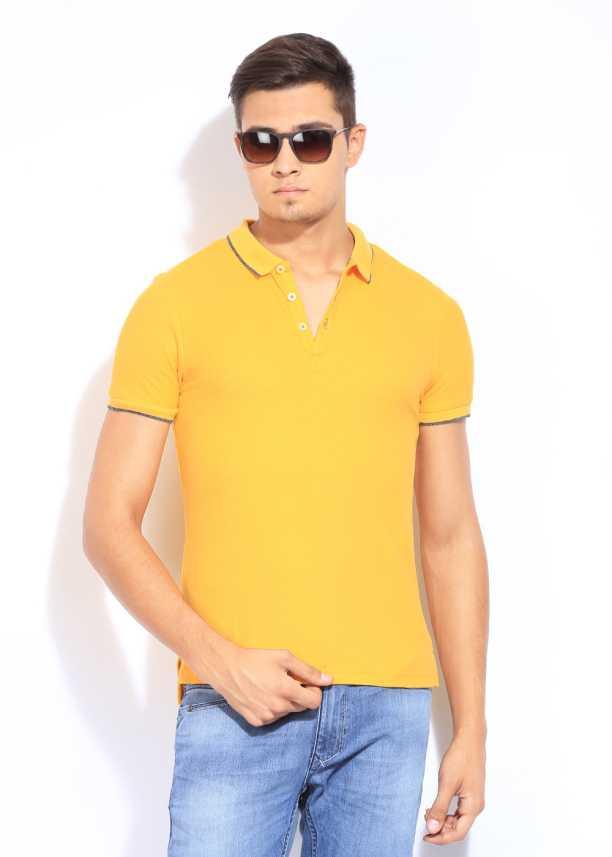 35e98c68d Giordano Solid Men's Polo Neck Yellow T-Shirt - Buy Yellow Giordano ...