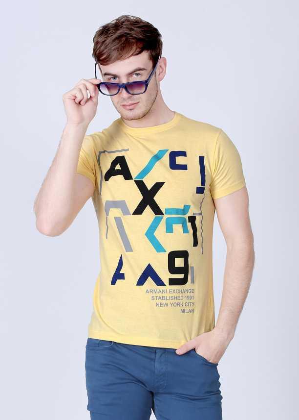 Armani T Yellow Exchange Neck Men Round Shirt Printed Buy jL5Rq43A